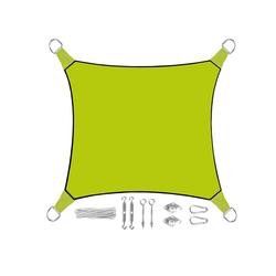 PEREL Sonnensegel, quadratisch 3,6 bis 5x5 m mit Ösen-Befestigung für Terrasse Balkon & Garten Sonnenschutz-Segel grün 360 cm x 360 cm