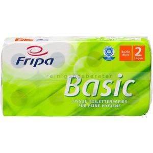 Toilettenpapier Fripa Tissue Recycling Basic weiss 8 Rollen 8 Rollen/Paket x 250 Blatt, Klopapier 2-lagig, Einzelpaket
