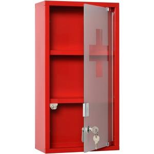 kleankin Medizinschrank Arzneischrank Erste-Hilfe-Schrank 3 Fächer Stahl Rot