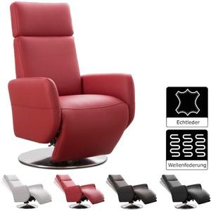 Cavadore TV-Sessel Cobra / Fernsehsessel mit Liegefunktion, Relaxfunktion / Stufenlos verstellbar / Ergonomie L / Belastbar bis 130 kg / 71 x 112 x 82 / Echtleder Rot
