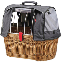 KlickFix Fahrradkorb Weidenkorb Doggy Basket Plus braun