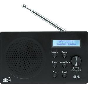 OK. ORD 101 BT-B Tragbares DAB+ Digitalradio mit Bluetooth, DAB+, FM, DAB, Schwarz