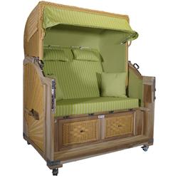 Strandkorb Teak XL grün / nadelstreifen weiß 21⁄2 Sitzer