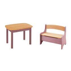 BioKinder - Das gesunde Kinderzimmer Kindersitzgruppe Levin, mit Tisch und Sitzbank, Sitzhöhe 30 cm lila