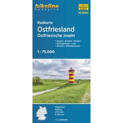 Radkarte Ostfriesland Ostfriesische Inseln 1:75.000