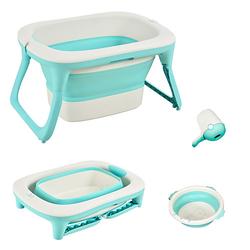 Faltbare Babywanne mit Waschbecken und Shampoobecher grün