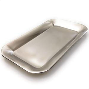 Kerafactum Serviertablett viereckige Servierplatte glänzende Servier Platte | Tablett kleines Gläsertablett zum Servieren Abräumen | Rechteckig aus Edelstahl matt polierte Platte Spülmaschinenfest
