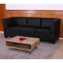 Modular 3-Sitzer Sofa Moncalieri, hohe Armlehnen ~ schwarz, hohe Armlehnen