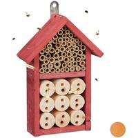 Relaxdays Insektenhotel Bausatz, Insektenhaus für Käfer, Bienen & Florfliegen, zum Selberbauen, HBT 26 x 16 x 6 cm, rot