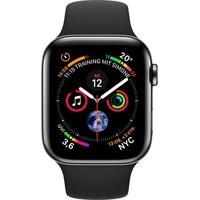Apple Watch Series 4 (GPS + Cellular) 44mm Edelstahlgehäuse schwarz mit Sportarmband schwarz