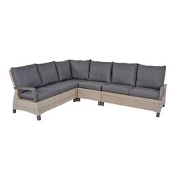 Lounge-Eckbank aus Polyrattangeflecht in beige mit 7 Rücken- und 6 Sitzkissen, Maße: B/H/T ca. 283/87/219 cm