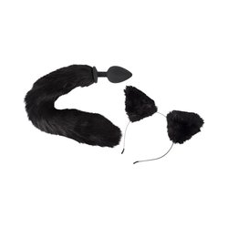 Analplug mit Katzenschwanz plus Haarreifen mit Katzenohren