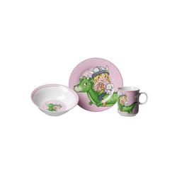 Ritzenhoff & Breker Kindergeschirr-Set DRACHE Kindergeschirr Set 3-teilig pink (3-tlg), Porzellan