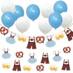 Oktoberfest Deko Set - Girlande + 10x Luftballons in Blau Weiß + 12x XXL Konfetti