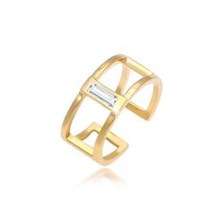 Elli Fingerring Offen Geo Swarovski® Kristall Rechteck 925 Silber, Kristall Ring goldfarben