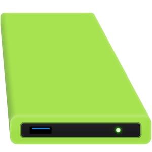 HipDisk GR 500GB SSD Externe Festplatte (6,4 cm (2,5 Zoll), USB 3.0) tragbare portable mit austauschbarer Silikon-Schutzhülle stoßfest wasserabweisend grün
