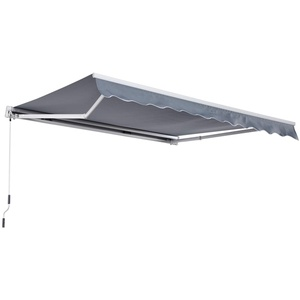 Outsunny Markise Gelenkarmmarkise Sonnenschutz Handkurbel, Alu+Polyester, Grau, 3x2,5m (Modell1)