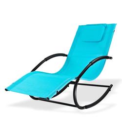 Sonnenliege Relaxliege Gartenliege Liegestuhl Schaukelliege Swing Hellblau