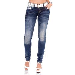 Cipo & Baxx Slim-fit-Jeans, im Slim Fit-Schnitt und coolem Gürtel weiß Damen Röhrenjeans Jeans Slim-fit-Jeans
