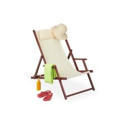 relaxdays Gartenliege Liegestuhl klappbar Holz