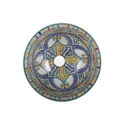 Casa Moro Waschbecken Orientalisches Keramik-Waschbecken Fes120 Ø 35 cm bunt rund, handbemaltes Handwaschbecken für Küche Badezimmer Gäste-Bad, Einfach schöner Wohnen, WB35120, Handmade