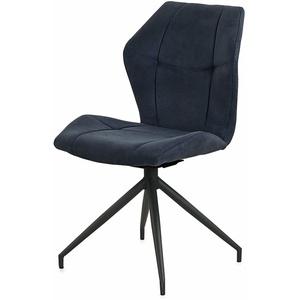 Stuhl 2er Set Emilio Microfaser dunkelblau Gestell Metall schwarz Esszimmerstuhl