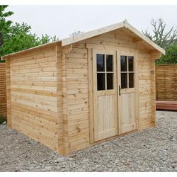 Gartenhaus aus Massivholz 9m² PLUS Holzbohlen 28mm Gardy Shelter