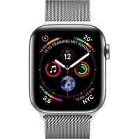 Apple Watch Series 4 GPS + Cellular 44 mm Edelstahlgehäuse silber mit Milanaise Armband silber