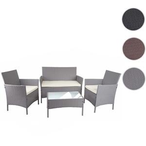 Poly-Rattan Garten-Garnitur HWC-D82, Sitzgruppe Lounge-Garnitur ~ grau mit Kissen creme