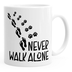 MoonWorks Tasse Kaffee-Tasse Never walk alone Hund Pfoten Hundepfoten Pfotenabdrücke Hundebesitzer MoonWorks®, Keramik weiß
