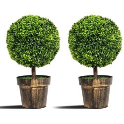 Kunstbaum 2er Set Künstlicher Buchsbaum Kunstpflanze Dekopflanze Zimmerpflanze, COSTWAY, Höhe 55 cm