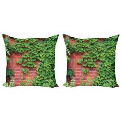 Abakuhaus Kissenbezug Modern Accent Doppelseitiger Digitaldruck, Ziegelwand Grüne Efeublätter Natur 60 cm x 60 cm