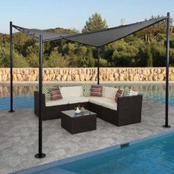 Pergola MCW-A41, Garten Pavillon Sonnensegel, stabiles 6cm Stahl-Gestell ~ 4x4m anthrazit