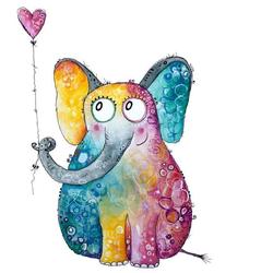 Wall-Art Wandtattoo Elefant mit Herz Luftballon (1 Stück) 37 cm x 50 cm x 0,1 cm