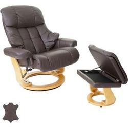 MCA Relaxsessel Windsor XXL, TV-Sessel Hocker, Echtleder 180kg belastbar ~ braun, naturbraun
