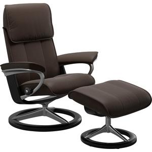 Stressless® Relaxsessel Admiral (Set, Relaxsessel mit Hocker), mit Hocker, mit Signature Base, Größe M & L, Gestell Schwarz braun 93 cm x 113 cm x 79 cm