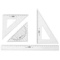 M + R Lineal-Set   Lineal: 30 cm; Geodreieck: 16 cm; Winkel 45°: 12 cm; Winkel 60°: 18 cm  , glasklar