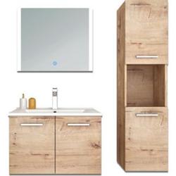 Home Deluxe Badmöbel-Set Norderoog inkl. Waschbecken und Spiegel, Holzdekor