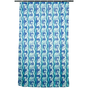 Smartfox Duschvorhang Motiv Muscheln in blau, 120x200 cm, 12 Ösen inkl. 12 Kunststoffringen