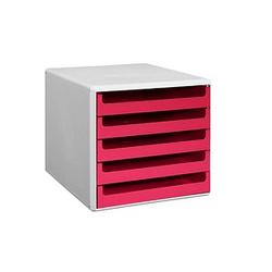 M&M Schubladenbox   sunset-red DIN A4 mit 5 Schubladen