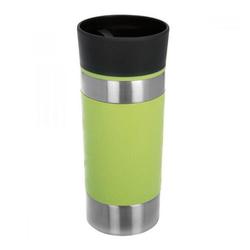 bremermann Thermobecher Thermobecher grün, Behälter aus hochwertigem, rostfreiem Edelstahl, Deckel aus Kunststoff, Manschette aus Silikon, 100% auslaufsicher