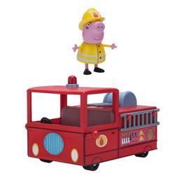 Jazwares Spielzeug-Auto 95674 Peppa Wutz kleines Feuerwehrauto, (2-tlg), Original Peppa Pig Spielzeug, inkl. Mama Wutz Figur