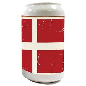 LEotiE SINCE 2004 Spardose Sparbüchse Geld-Dose Wiederverschließbar Farbe Weiß Weltenbummler Dänemark Keramik Bedruckt