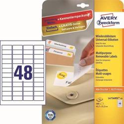 Universal-Etiketten 45,7x21,2 mm 10 Blatt/480 Etiketten weiß