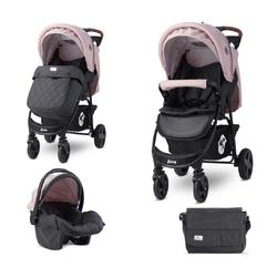 Lorelli Kombi-Kinderwagen Kombikinderwagen Daisy 2 in 1, Babyschale, Sportsitz, Fußabdeckung rosa