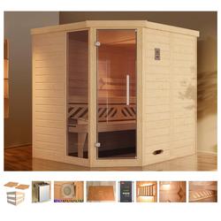 weka Sauna Brevik 1, BxTxH: 195 x 195 x 199 cm, 45 mm, 7,5 kW Ofen mit ext. Steuerung, Fenster