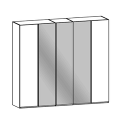 Thielemeyer Cubo Kleiderschrank 5-türig mit 3 Spiegeltüren