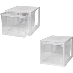 KREHER Aufbewahrungsbox 2x 50 Liter, mit Schubladen 2er Set weiß