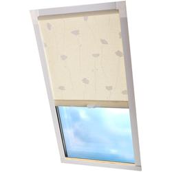 Dachfensterrollo Dekor, Liedeco, Lichtschutz, in Führungsschienen beige Dachfensterrollos Rollos Jalousien Rollo