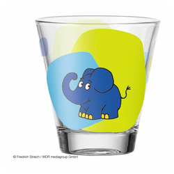 LEONARDO Kinderbecher Bambini Elefant, Glas bunt